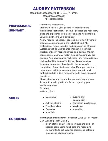 b u0026n wekding millwright and maintenance technician resume