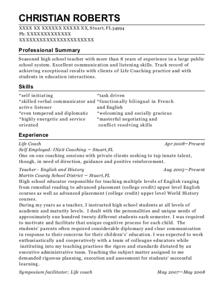 view resume - Life Coach Resume