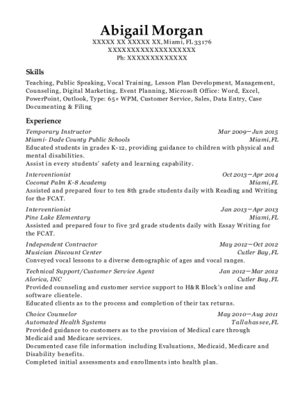 miami dade county public schools temporary instructor resume sample