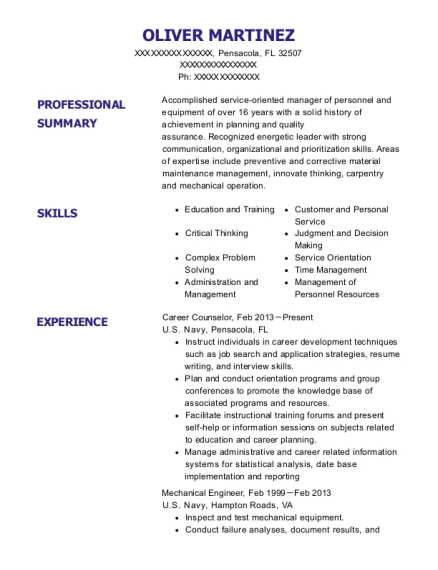 Us Navy Career Counselor Resume Sample Pensacola Florida