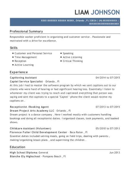 Captel Service Specialist Captioning Assistant Resume Sample ...