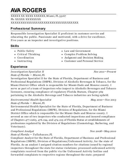 ava rogers - Environmental Health Specialist Sample Resume