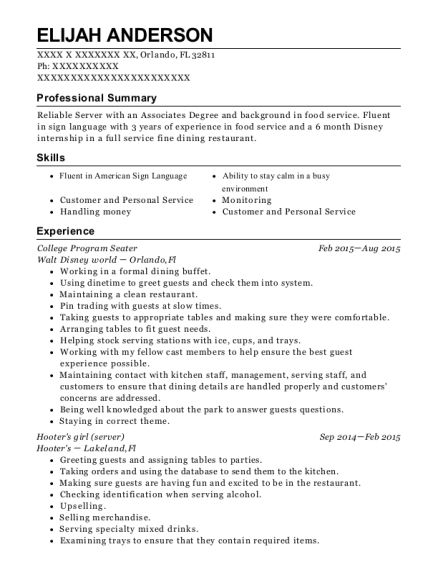 walt disney world college program seater resume sample orlando
