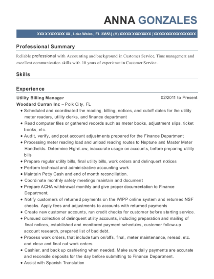 best utility billing specialist resumes resumehelp