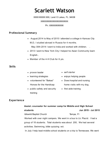 View Resume. Assist. Counselor For Summer Camp For Middle And High School  Students