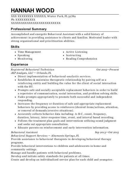 best registered behavior technician resumes