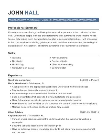 john hall - Wardrobe Consultant Sample Resume