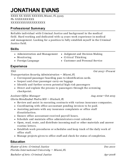 tsa tso resume sample