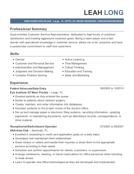 leah long - Switchboard Operator Resume