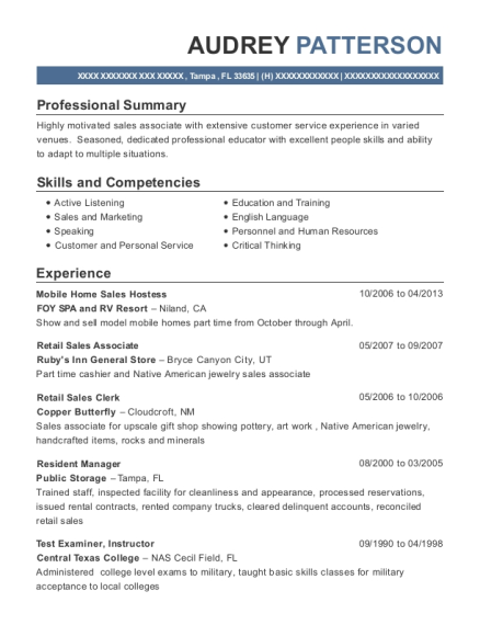Audrey Patterson  Store Clerk Resume