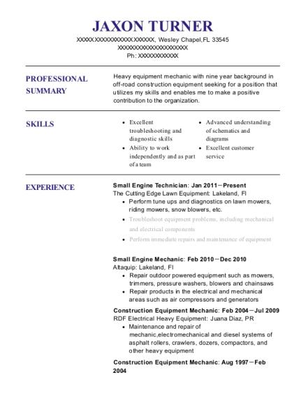 View Resume Small Engine Technician