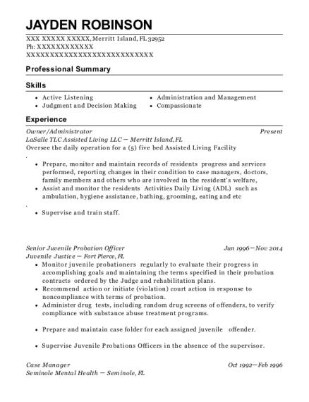 best senior juvenile probation officer resumes resumehelp