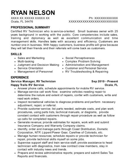 best rv technician resumes resumehelp