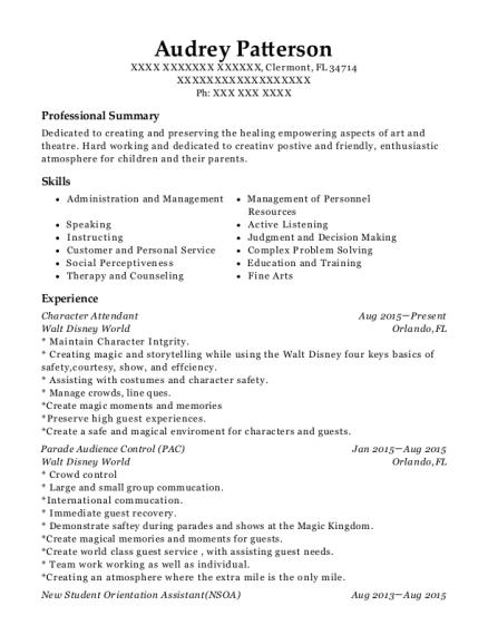 disney resume