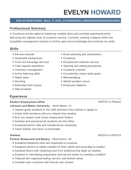 johnson and wales university student employment office resume sample