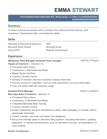 cities - Parts Manager Resume