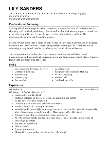 96 Army Infantry Resume