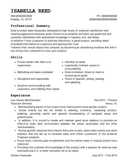 View Resume. Live Goods Merchandiser