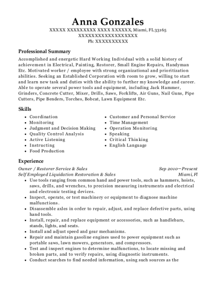 food prep resume
