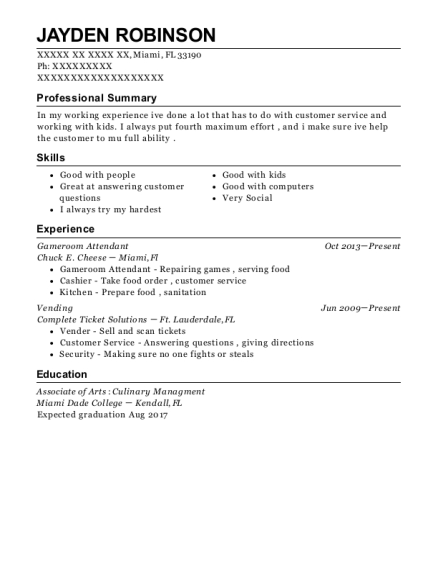chuck e cheese gameroom attendant resume sample miami florida