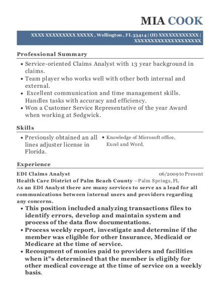 EDI Claims Analyst , Work Compensation Adjuster. Customize Resume · View  Resume