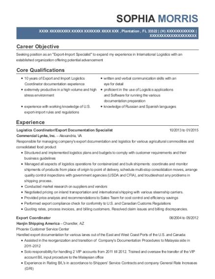 View Resume. Logistics Coordinator/Export Documentation Specialist