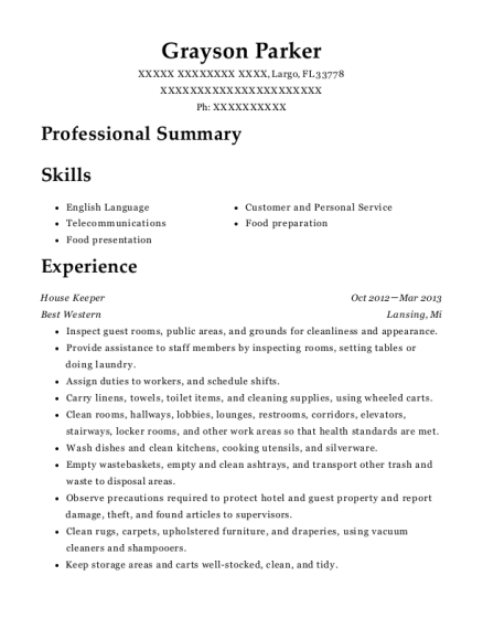 grayson parker - Sample Greeter Resume