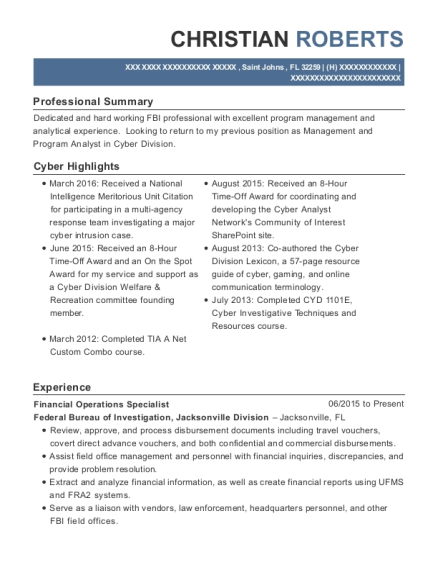 View Resume. Financial Operations Specialist