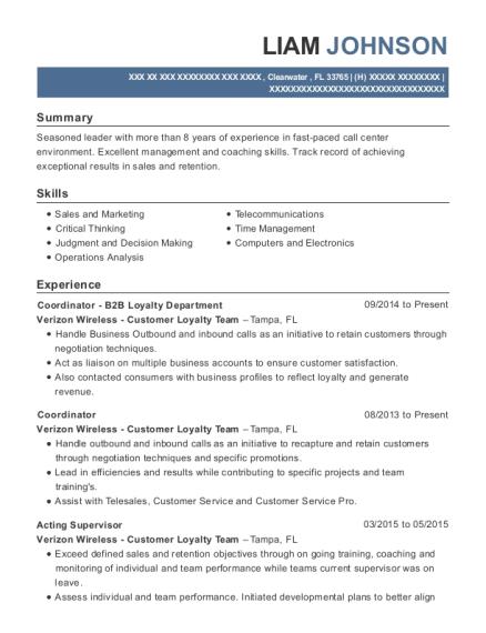 Verizon Wireless Customer Loyalty Team Coordinator B2b Loyalty