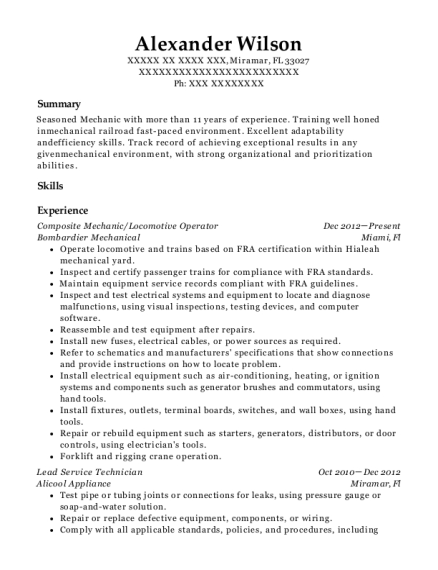 View Resume. Composite Mechanic/Locomotive Operator