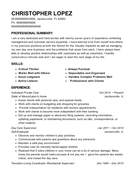 View Resume. Individual Private Care