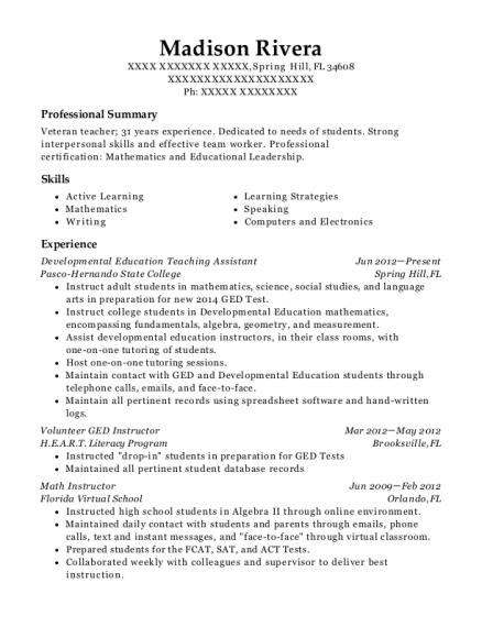 Best Developmental Education Teaching Assistant Resumes Resumehelp
