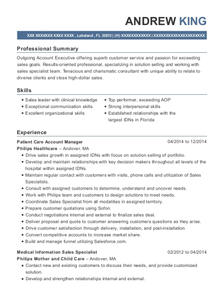 ... Medical Information Sales Specialist. Customize Resume · View Resume