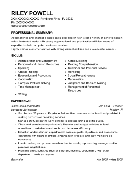 Best Inside Sales Coordinator Resumes ResumeHelp