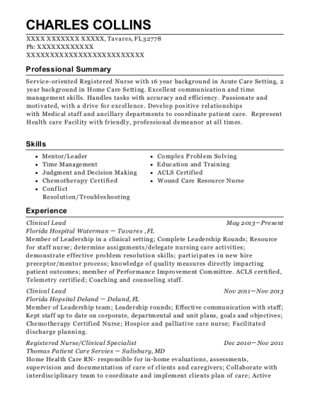 View Resume. Clinical Lead