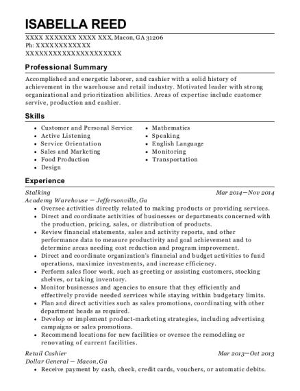 isabella reed - Retail Cashier Resume
