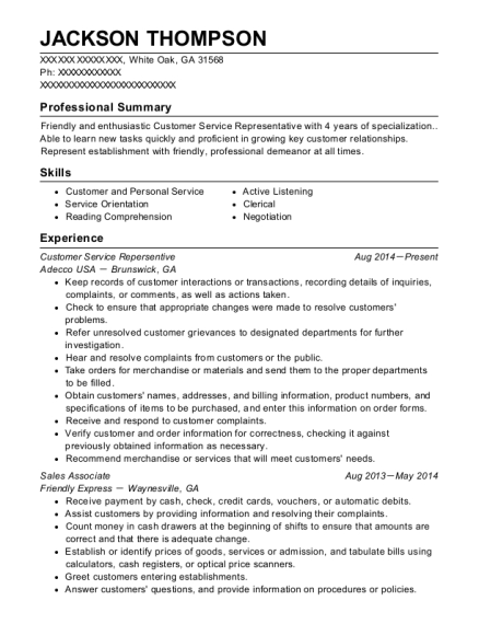 transamerica customer service representative resume sample