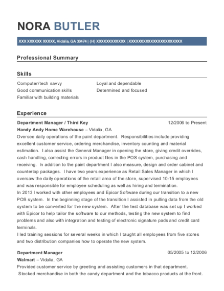 department manager resume