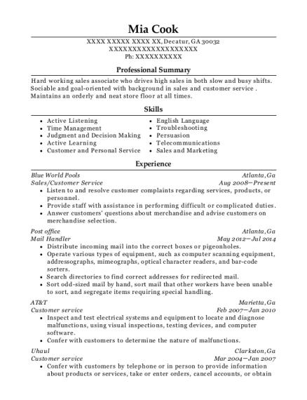 United States Postal Service Mail Handler Resume Sample