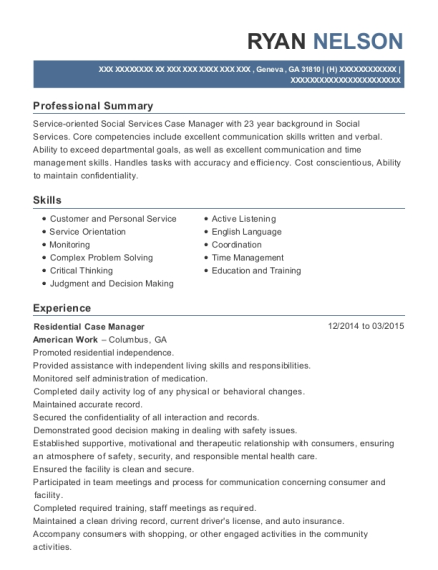 View Resume. Residential Case Manager