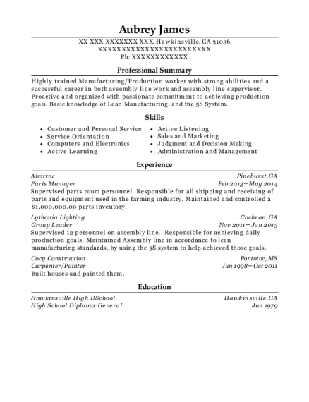 parts manager resume