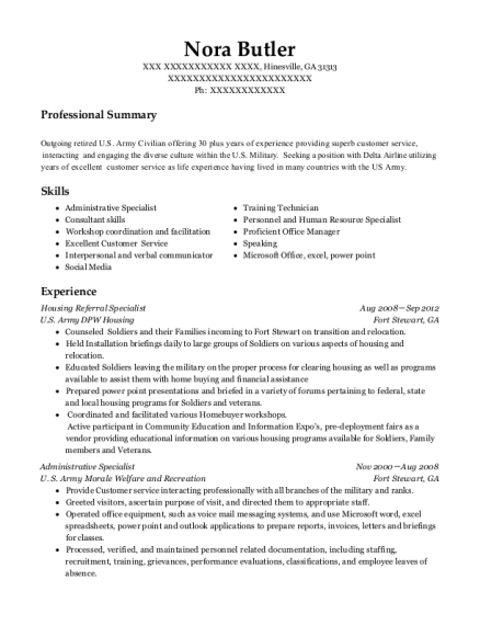 Great View Resume. Housing Referral Specialist