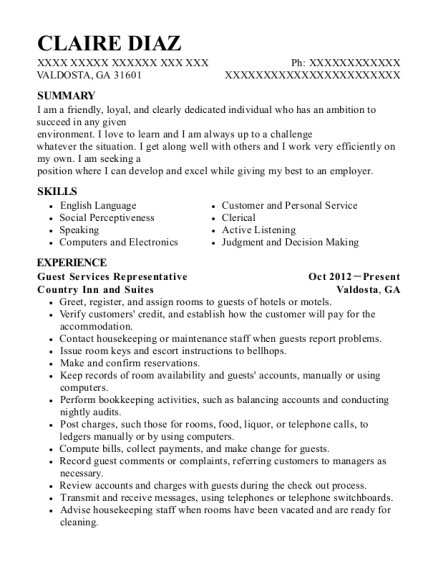 Norwegian Cruise Line Guest Service Representative Resume Sample