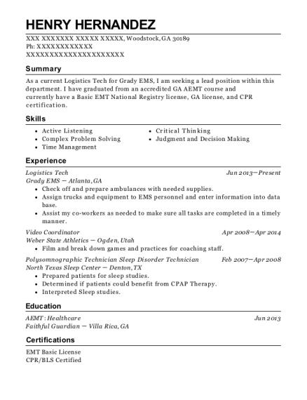 grady ems logistics tech resume sample