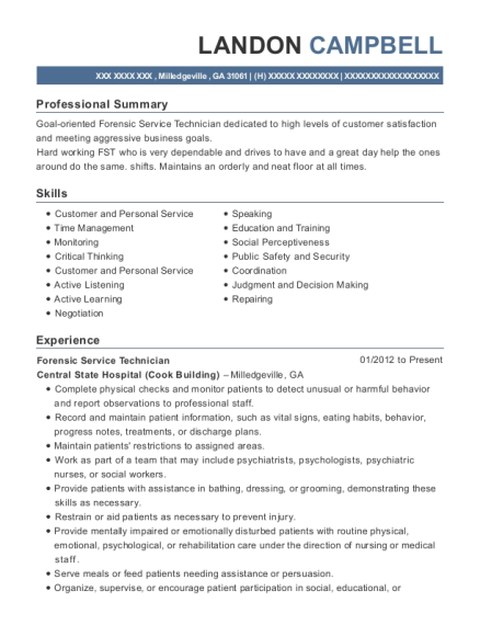 View Resume. Forensic Service Technician