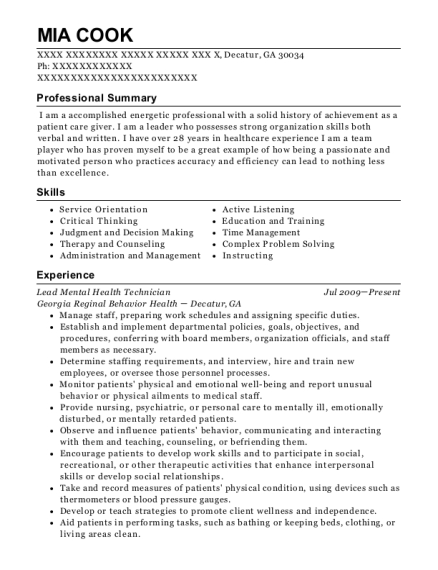 View Resume. Lead Mental Health Technician