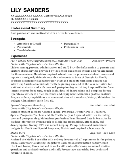 best pre k school secretary resumes resumehelp