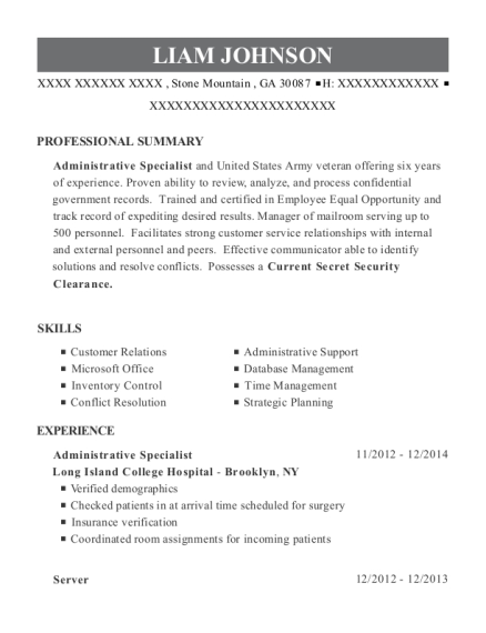 liam johnson administrative specialist resume - Inventory Specialist Resume