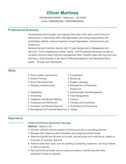 Best Health And Beauty Department Manager Resumes | ResumeHelp