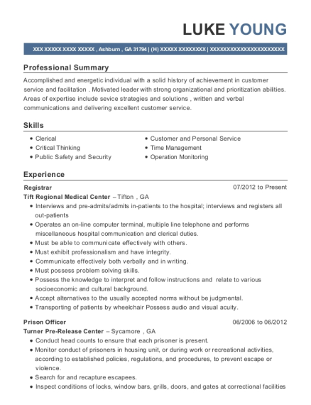 Acting Senior Officer , Prison Officer. Customize Resume · View Resume